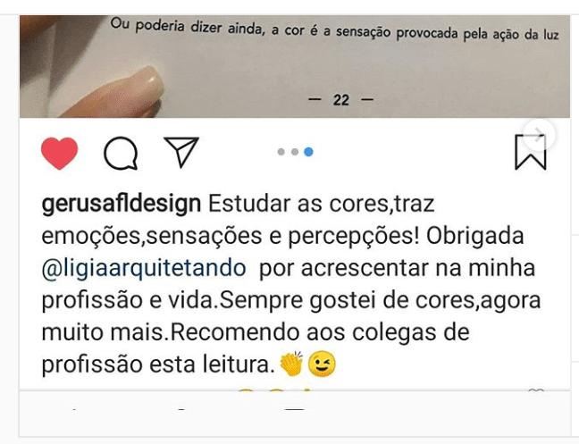 Depoimento de quem comprou o livro, publicado no instagran
